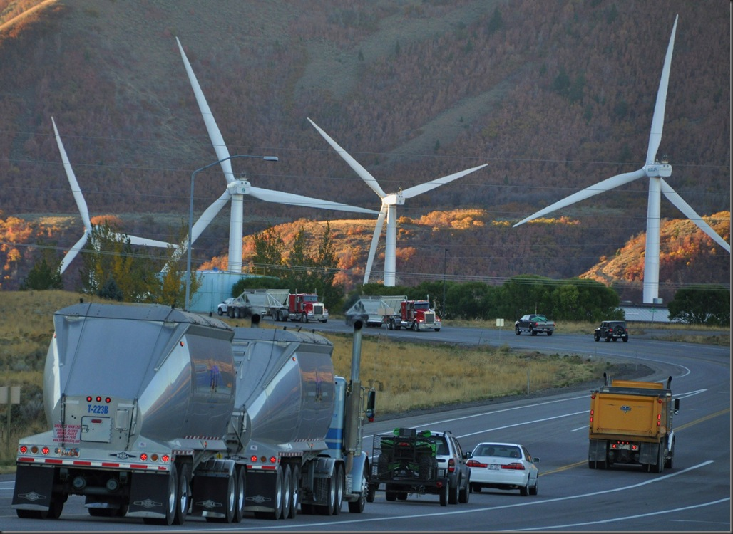 Wind farm in spanish fork, utah alongside higway