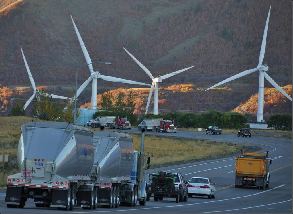 Wind farm in spanish fork, utah alongside higway