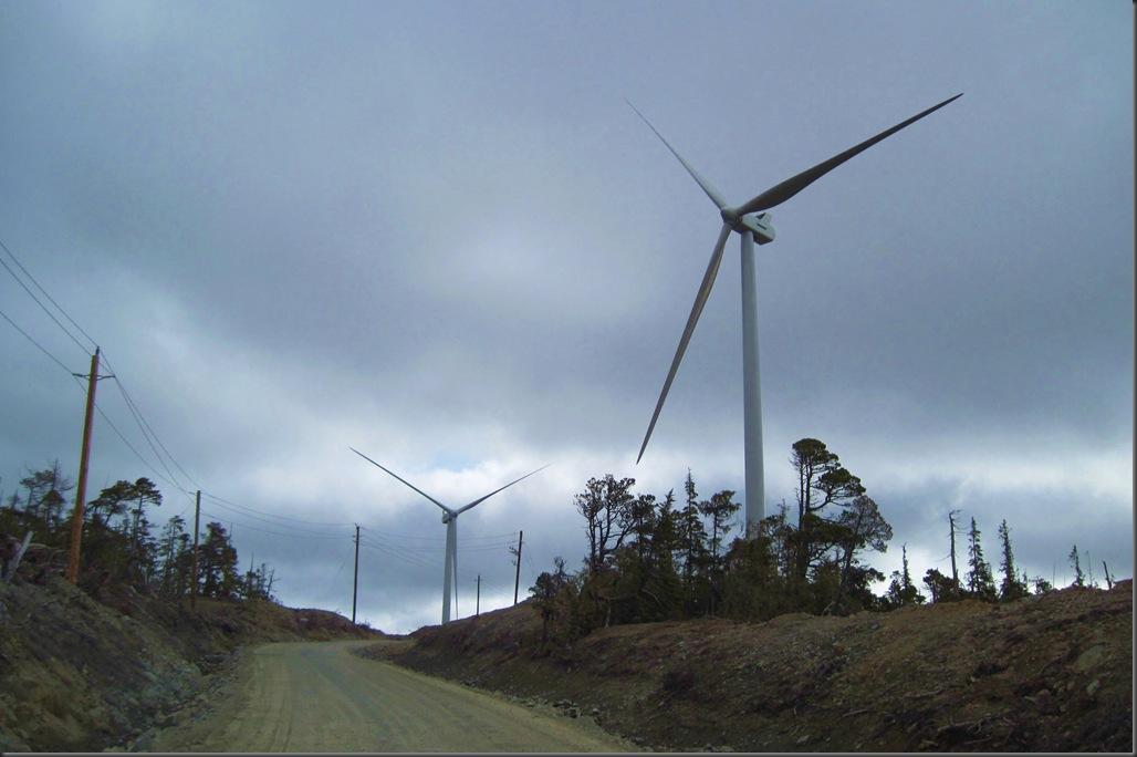 Wind turbines near Cape Scott on Northern Vancouver Island