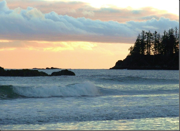 Waves & coloured sky - Grants Bay, Vancourver Island