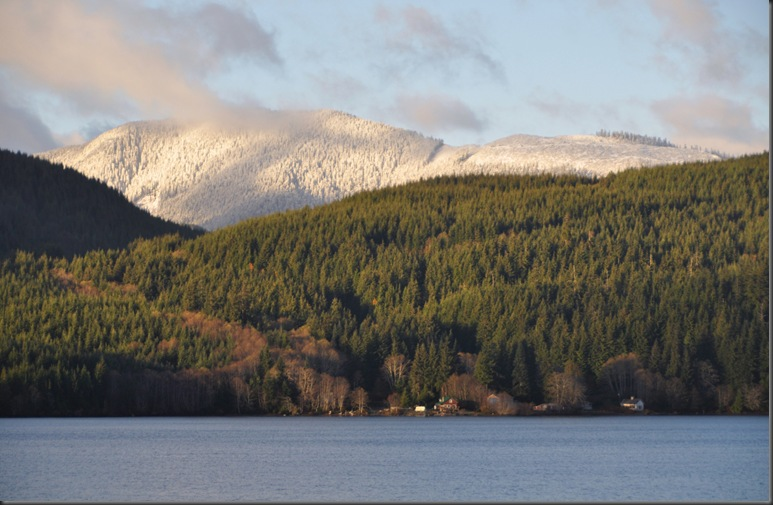 First snow in the mountains acrross the lake - Nov. 2013