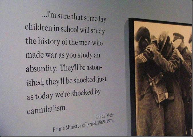 Golda Meir quote, Glenbow Museum, Calgary Alberta