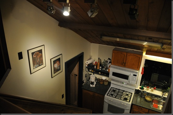 16 watts of LED track lighting looking down to kitchen from loft