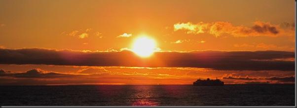A  ferry at dawn