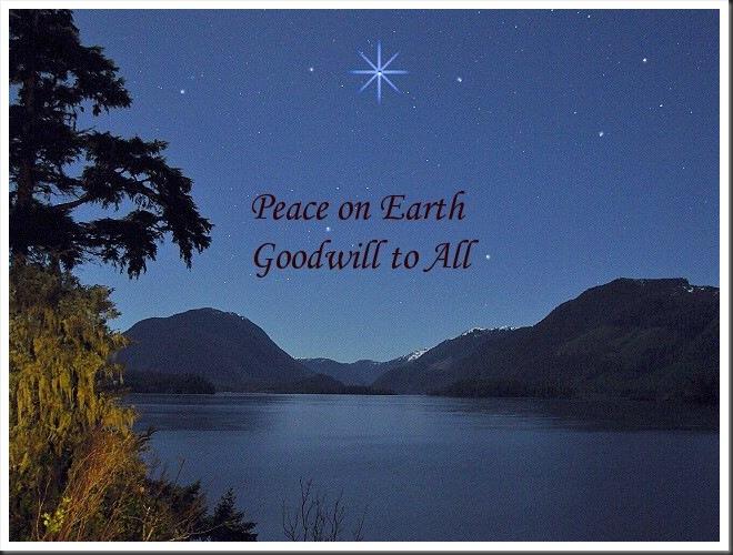 Christams star over the lake & universal peace