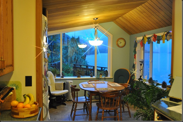 Dining room lights and windows