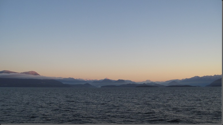 Georgia Strait, looking east towards the Coast Range Mountains