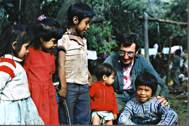 Bruce with youngsters in Malinalco, Mexico - circa 1991 Witzel photo-slide