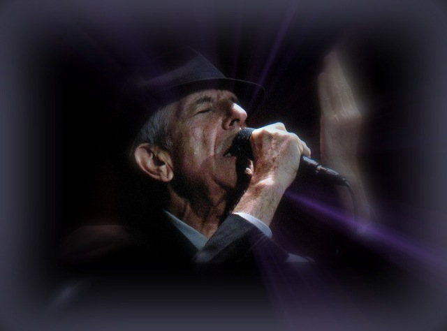 Leonard Cohen singing Hallelujah in Vancouver Concert - medium lit around