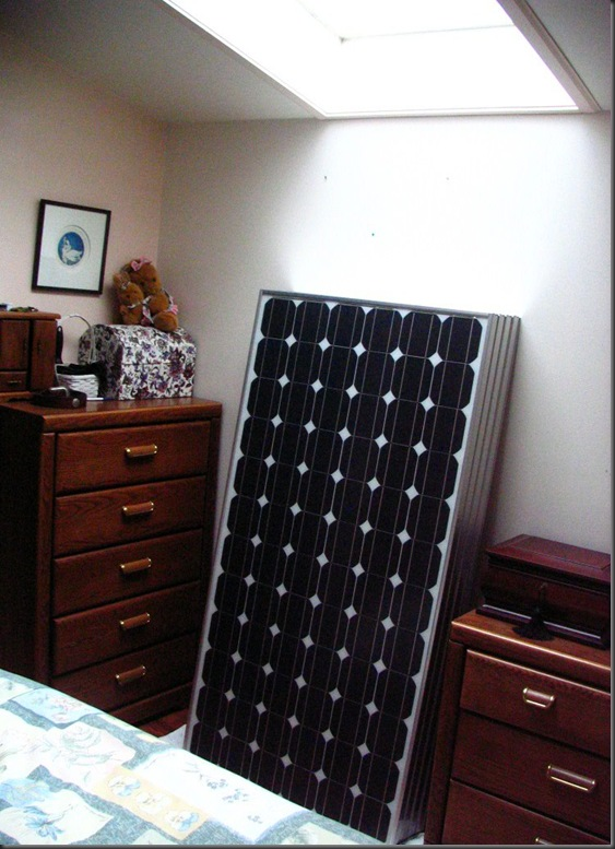 4 -175 watt solar panels in bedroom awaiting installation
