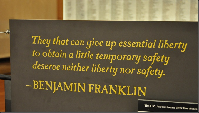 Essential liberty - Benjamin Franklin quote - photo by Bruce Witzel