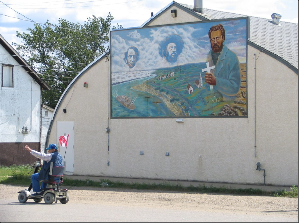 Mural of John A. McDonald. Gabriel Dumont and Louis Riel