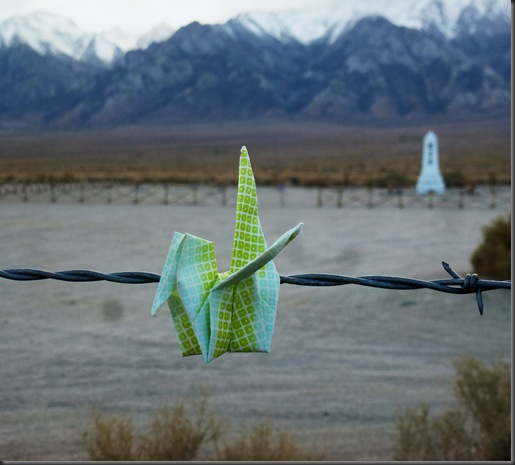 Peace crane @ Manzanar - sitting on the fence