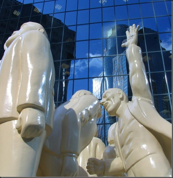 Statues in Downtown Montreal - The Illuminated Crowd
