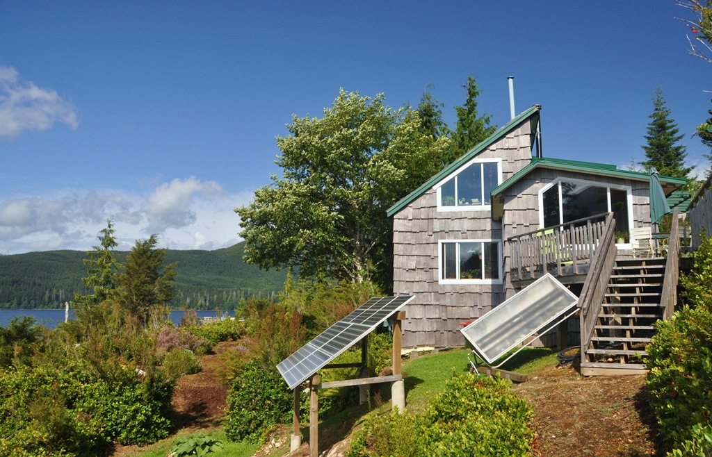 Cabin's solar array and solar hot water system