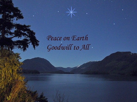 Christams star over the lake & universal peace - bruce witzel photo