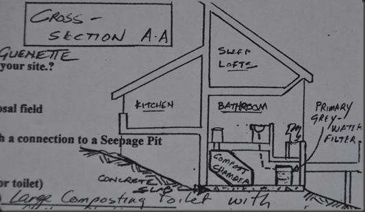 Cross section of compost toilet - drawing by bruce witzel