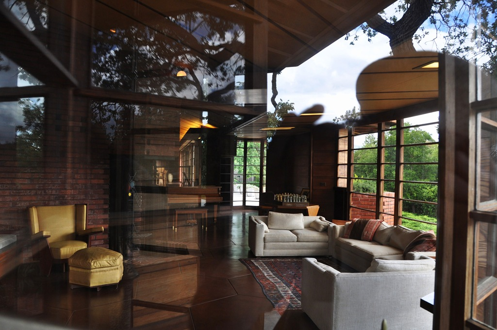 Living room of Hanna House as seen from outside front window