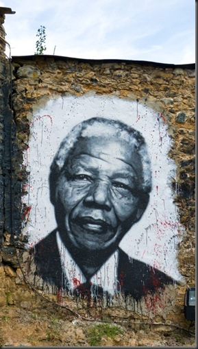 Nelson_Mandela - Painted portrait on a wall - from google images