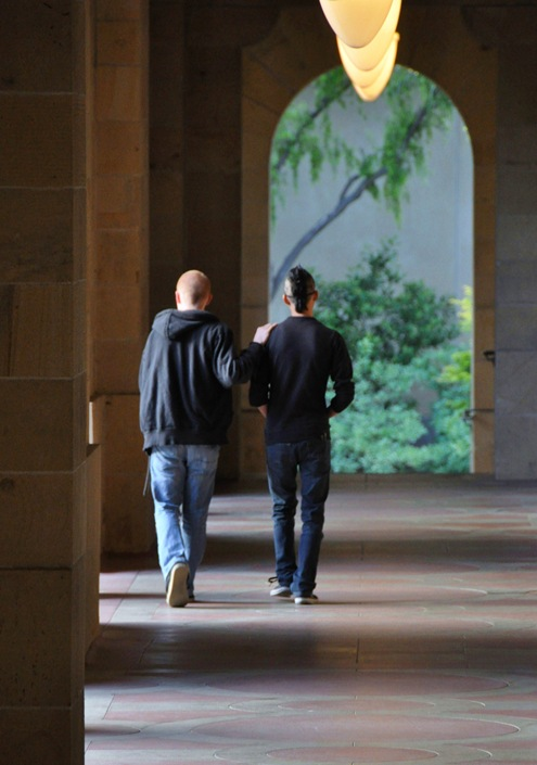 Two friends @ near Memorial Chapel, Stanford University - Bruce Witzel photo