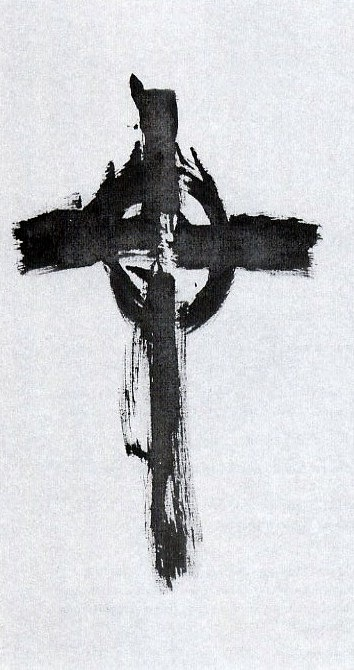 brush drawing of celtic cross - by thomas merton