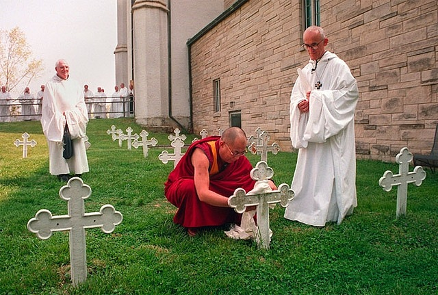 dalai lama at thomas mertons grave, Abbey of Gethsemani , 1997 - photographer unknown