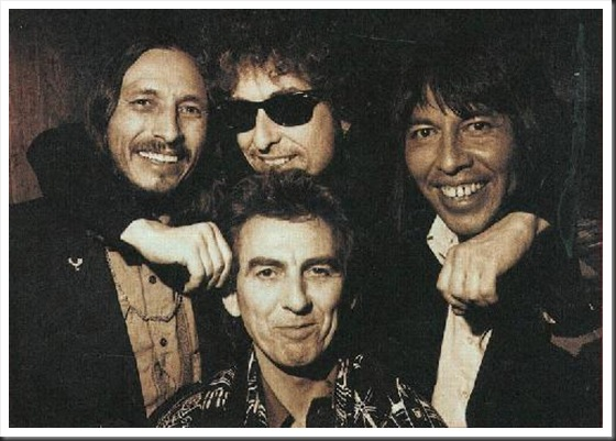 (L to R) John Trudell, Bob Dylan, Jesse Ed Davis and George Harrsion (front) - photo source unknown