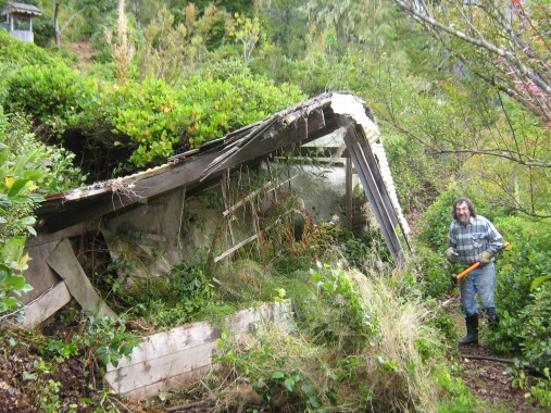 Tearing down old greenhouse - Francis Guenette photo