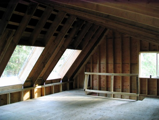 Upper loft of garage under construction - by bruce witzel