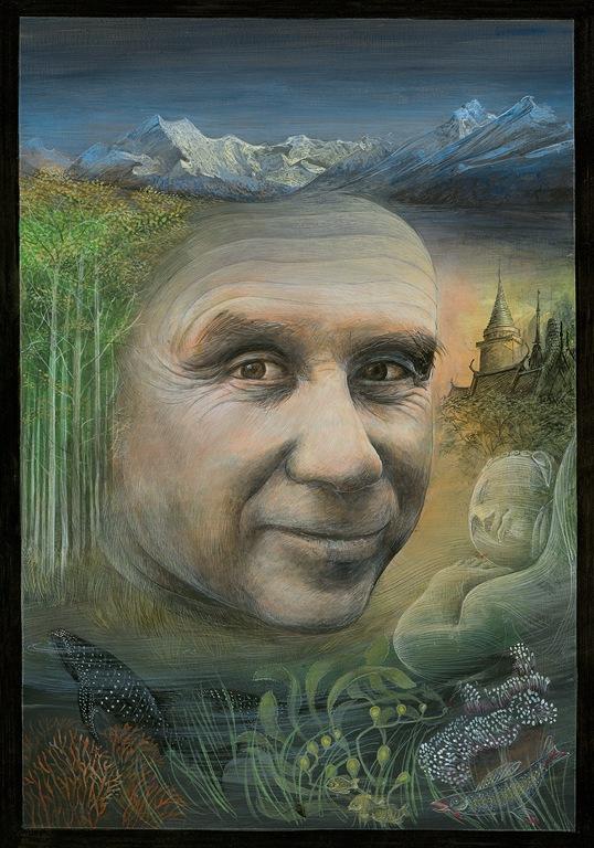 Thomas Merton Centenary Icon painted by John Giuliani