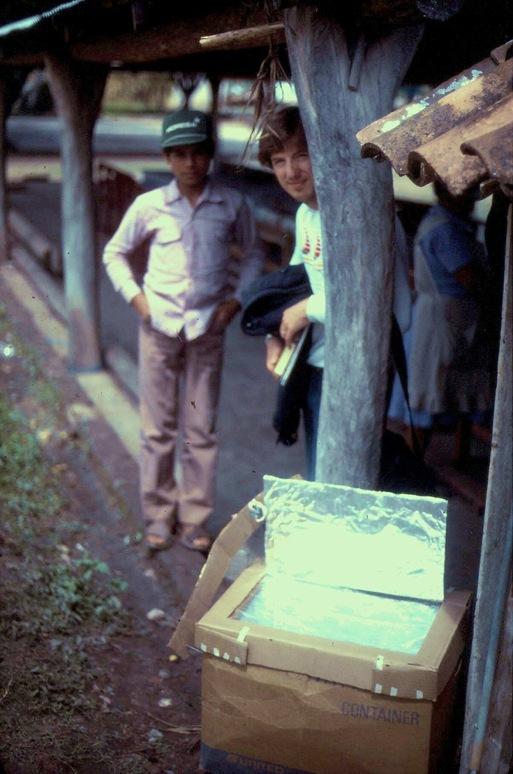 A simple cardboard solar oven in Oaxaca Mexico, circa 1992 - bruce witzel photo