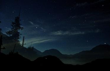 Lake at night and the nightt sky - John trudell RIP Sept. 12, 2014 Bruce Witzel photo.2