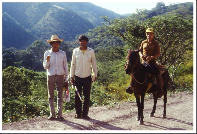 My friend Pedro on left, with 2 other campesinos in Oaxaca 1990 - bruce witzel photo