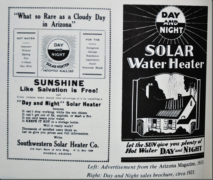 Old solar heating advertisemnents - from A Golden Thread 2500 years of Solar Architceture