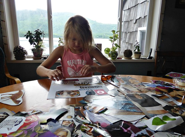 Emma doing a collage 2, July 2016 - francis guenette photo