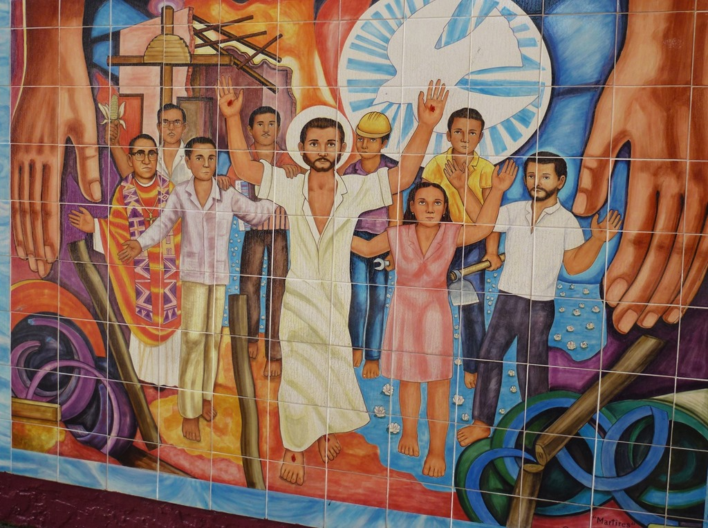 Mural in downtown Los Angeles, Oscar Romero with the people and the Risen Lord - bruce witzel photo