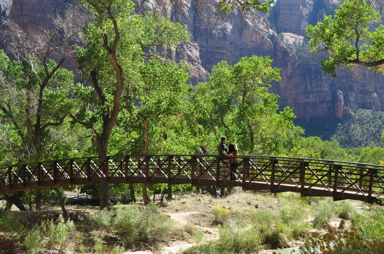 Couple on pedestrian bridge, Zion National Park  Oct. 7,2016  - bruce witzel photo