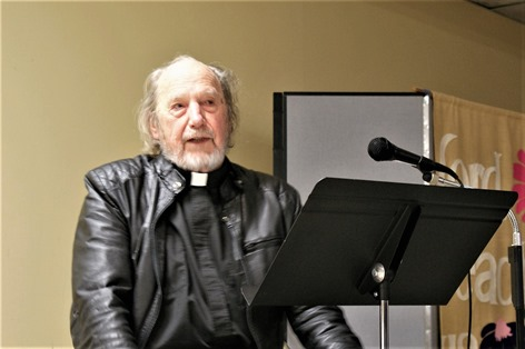 Charles Brandt speaking at his 50th anniversary as hermit and Catholic priest