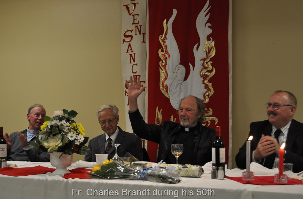 Charles Brandt waves at his 5oth anniversery as a hermit priest, Nov. 5, 2016 - Campbell River BC