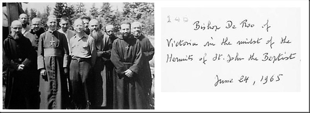 Hermits of St. John the Baptist with Bishop DeRoo in 1965