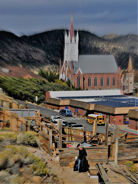 St.Mary in the Mountains & local school and resident, Virginia City, Nevada (best)- Oct.3, 2016  - bruce witzel photo
