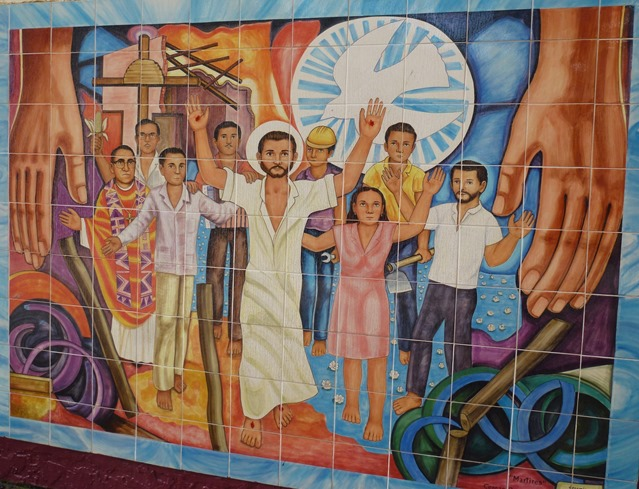 Mural in downtown LA - Saint Oscar Romero with cmpesinos and the Risen Christ - francis guenette photo