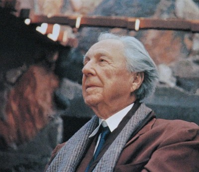 Frank Lloyd Wright at Taliesin West - photo of a photo, original photographer unknown