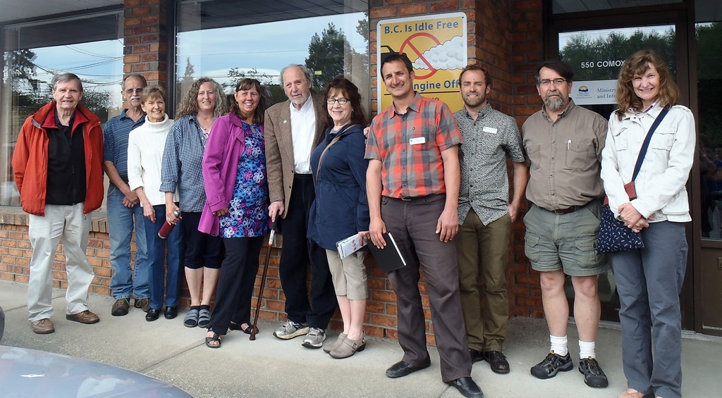 Friends and collaborters of Charles Brandt at the Comox Valley Reggional District Office, May 30- 2017 - photo compliments Kathryn Jones