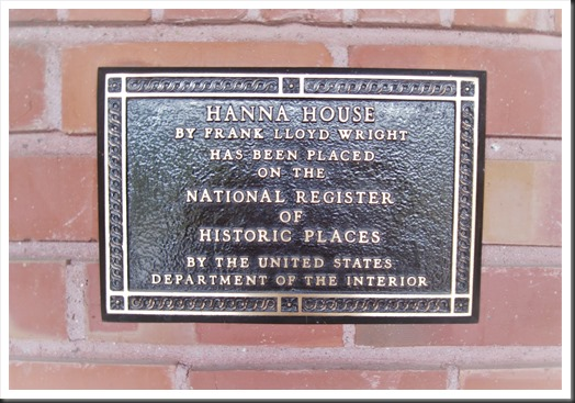 Plaque at entry to Hanna House, Stanford California - bruce witzel photo