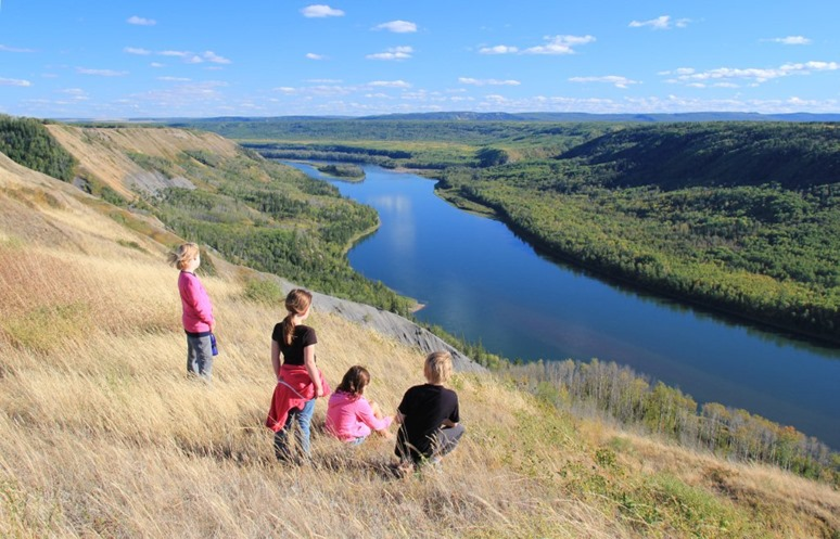 Children overlooking the Peace River - photographer unknown