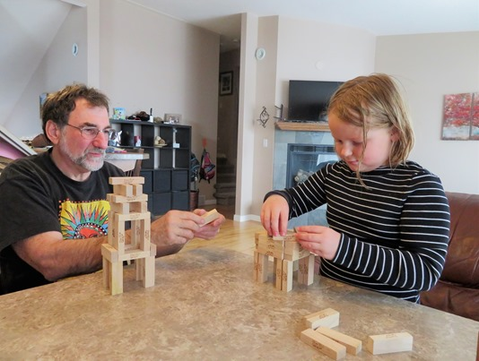 Bruce and Brit building with blocks, Easter 2018 - francis guenette photo