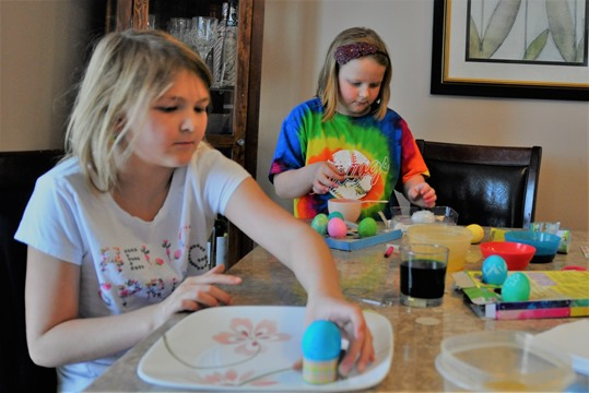 Emma abnd Brit making Easter eggs. March 2018 - bruce witzel photo