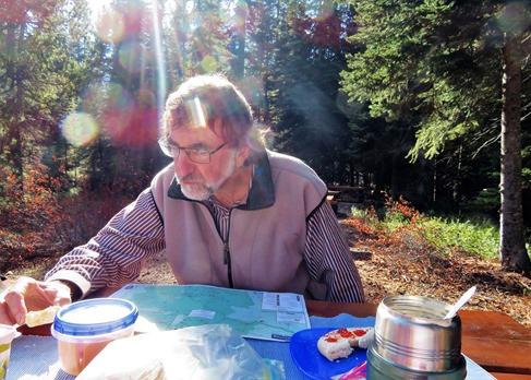 Bruce 2 studying the local Manning Park environs during picnic break Oct 20-2018  francis guenette photo