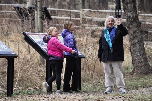 Fran and the kids at the Hillcrest Miner Memorial in Alberta, Nov3-2018 - bruce witzel photo